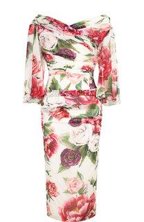 Шелковое платье-миди с драпировкой и принтом Dolce & Gabbana