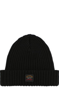 Шерстяная шапка фактурной вязки с логотипом бренда Paul&Shark