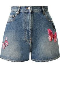 Джинсовые шорты с декоративной отделкой Valentino