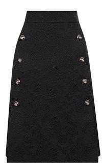 Однотонная юбка с контрастными пуговицами Dolce & Gabbana