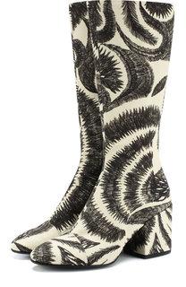 Текстильные сапоги с принтом на устойчивом каблуке Dries Van Noten