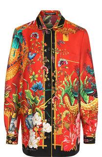 Шелковая блуза прямого кроя с принтом Dolce & Gabbana