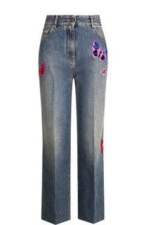 Укороченные джинсы со стрелками и декоративной отделкой Valentino