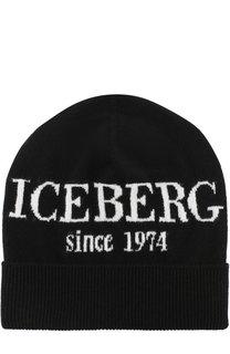 Кашемировая шапка с принтом Iceberg