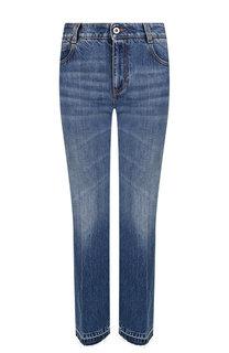 Укороченные расклешенные джинсы со стрелками и потертостями Stella McCartney