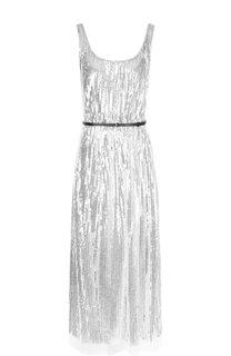 Платье-миди с контрастным поясом и пайетками Marc Jacobs