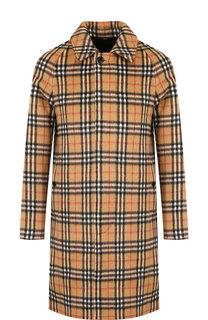 Однобортное шерстяное пальто в клетку Burberry