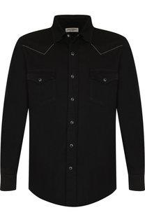 Хлопковая рубашка с воротником кент Saint Laurent