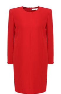 Однотонное мини-платье прямого кроя с круглым вырезом Givenchy