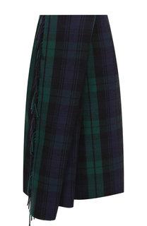 Шерстяная юбка асимметричного кроя с бахромой Balenciaga