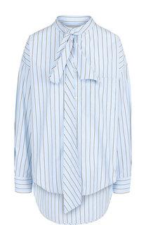 Хлопковая блуза свободного кроя с воротником аскот Balenciaga