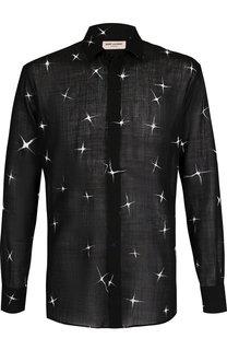 Шерстяная рубашка с воротником кент Saint Laurent
