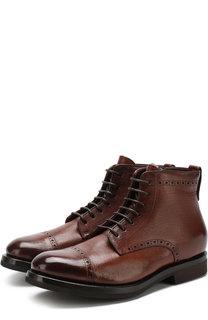 Высокие кожаные ботинки на шнуровке с молнией и с внутренней меховой отделкой H`D`S`N Baracco
