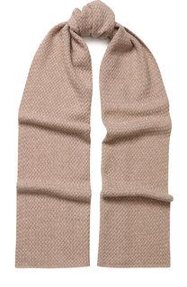 Кашемировый шарф фактурной вязки с отделкой стразами William Sharp