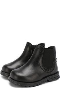 Кожаные ботинки с эластичной вставкой и внутренней меховой отделкой Dolce & Gabbana