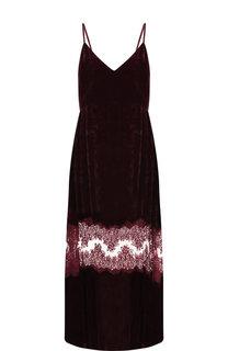 Бархатное платье-миди на бретельках с кружевной вставкой Stella McCartney