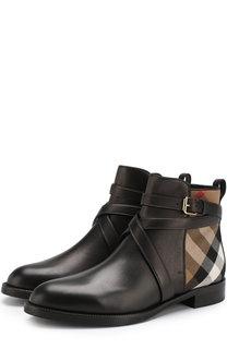 Кожаные ботинки с текстильной вставкой Burberry