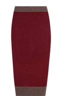 Вязаная юбка-миди из смеси шерсти и хлопка Victoria Beckham