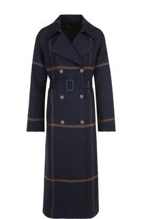 Двубортное шерстяное пальто с поясом Loro Piana
