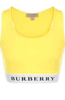 Укороченный топ с логотипом бренда Burberry