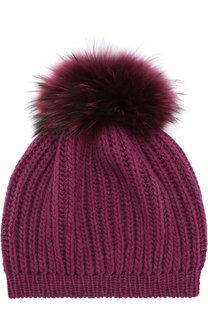 Кашемировая шапка фактурной вязки с помпоном Inverni