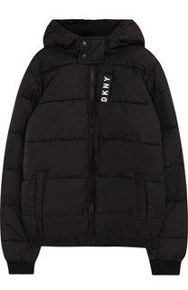 Стеганая куртка на молнии с капюшоном DKNY