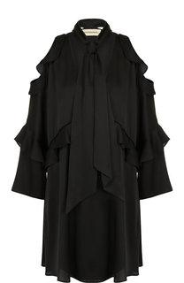 Однотонное платье свободного кроя с оборками и шарфом By Malene Birger