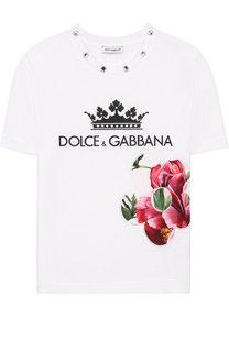 Хлопковая футболка с аппликацией и кристаллами Dolce & Gabbana