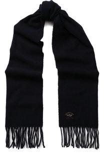 Шерстяной шарф с бахромой и логотипом бренда Paul&Shark