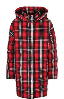 Удлиненная куртка с капюшоном и воротником-стойкой MSGM