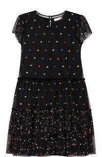 Платье с прозрачной отделкой и вышивкой Stella McCartney