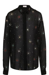 Шелковая блуза с декоративной отделкой Saint Laurent