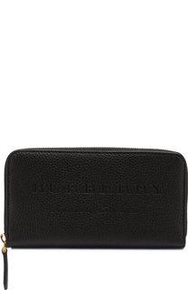 Кожаный кошелек на молнии с тисненым логотипом бренда Burberry