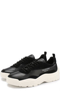 Кожаные кроссовки Valentino Garavani на шнуровке Valentino