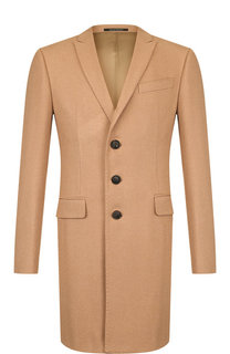 Однобортное шерстяное пальто с отложным воротником Emporio Armani