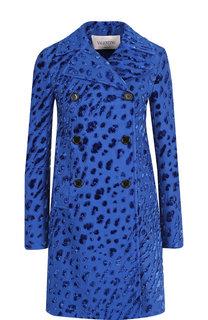 Двубортное пальто из смеси хлопка и вискозы Valentino