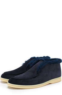 Замшевые ботинки Open Walk с внутренней отделкой из нутрии Loro Piana