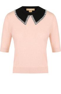 Кашемировый пуловер с укороченным рукавом и декоративной отделкой Michael Kors Collection