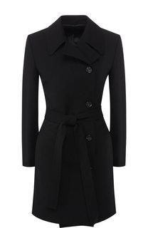 Однотонное шерстяное пальто с поясом Helmut Lang