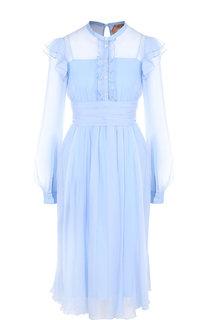 Приталенное шелковое платье с оборками и воротником-стойкой No. 21
