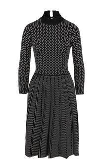 Приталенное платье из вискозы с воротником-стойкой Emporio Armani