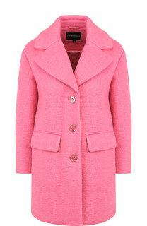 Однотонное пальто прямого кроя Emporio Armani