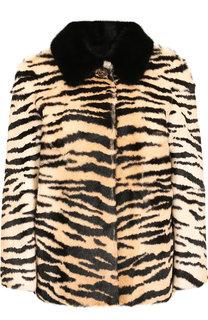 Укороченное меховое пальто с принтом REDVALENTINO