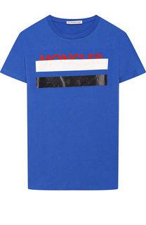 Хлопковая футболка с контрастной отделкой Moncler Enfant