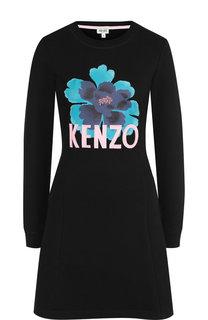 Хлопковое мини-платье с круглым вырезом и логотипом бренда Kenzo