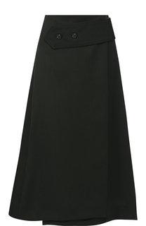 Однотонная шерстяная юбка-миди Victoria Beckham