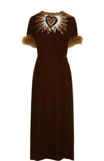 Приталенное бархатное платье-миди с меховой отделкой Fendi