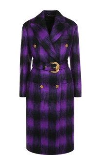 Двубортное шерстяное пальто с поясом Versace