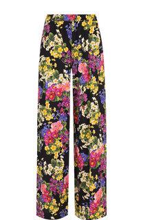 Шелковые брюки с эластичным поясом и принтом Dolce & Gabbana