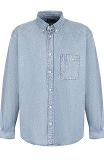 Хлопковая рубашка с воротником button down Balenciaga